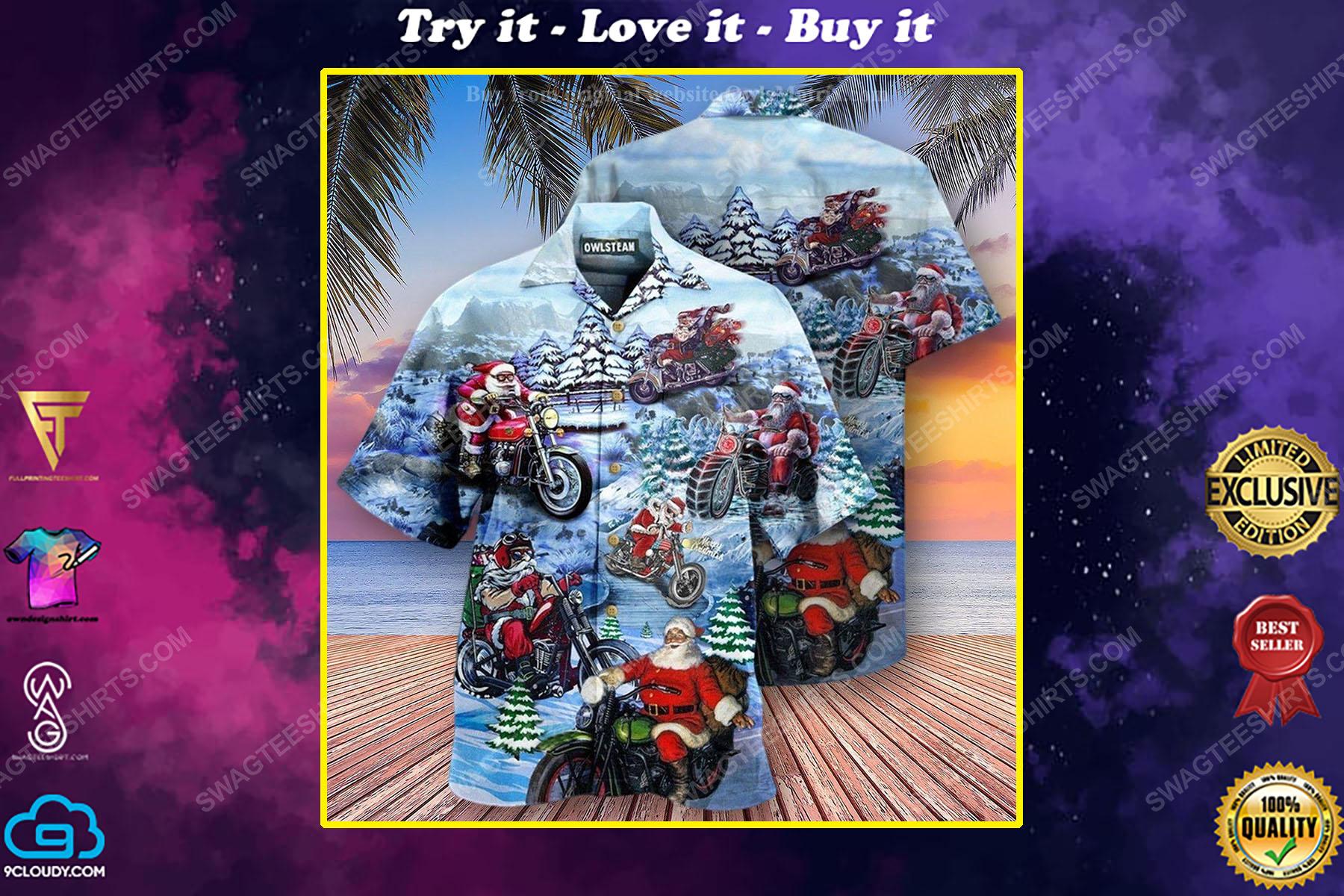 Christmas holiday and santa biker full print hawaiian shirt