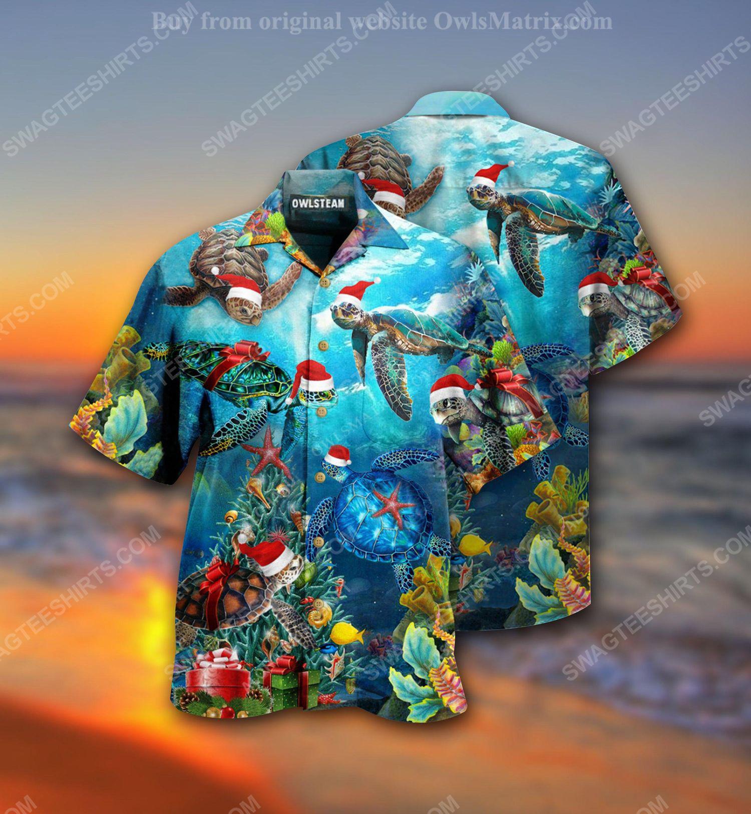 Christmas holiday and sea turtle full print hawaiian shirt 2