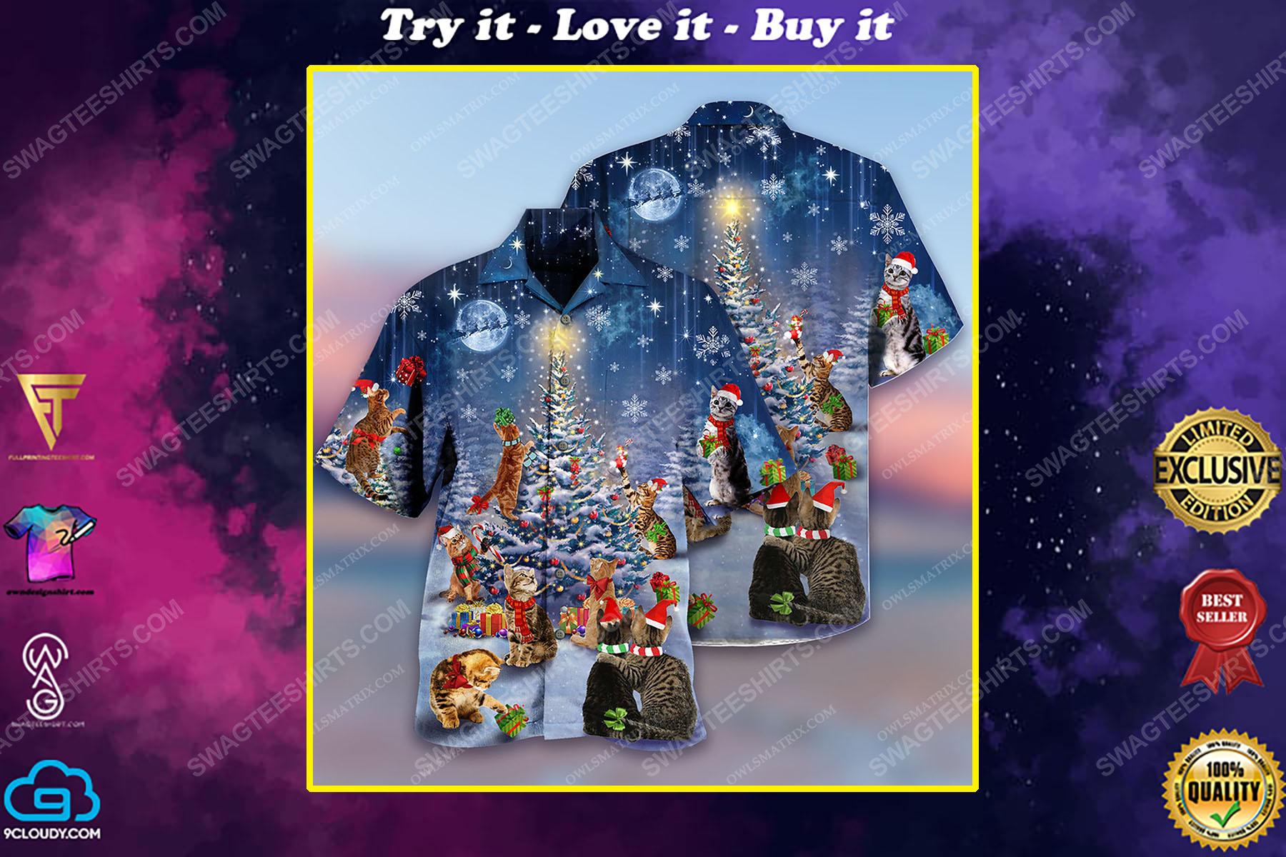 Christmas holiday cats lover full print hawaiian shirt