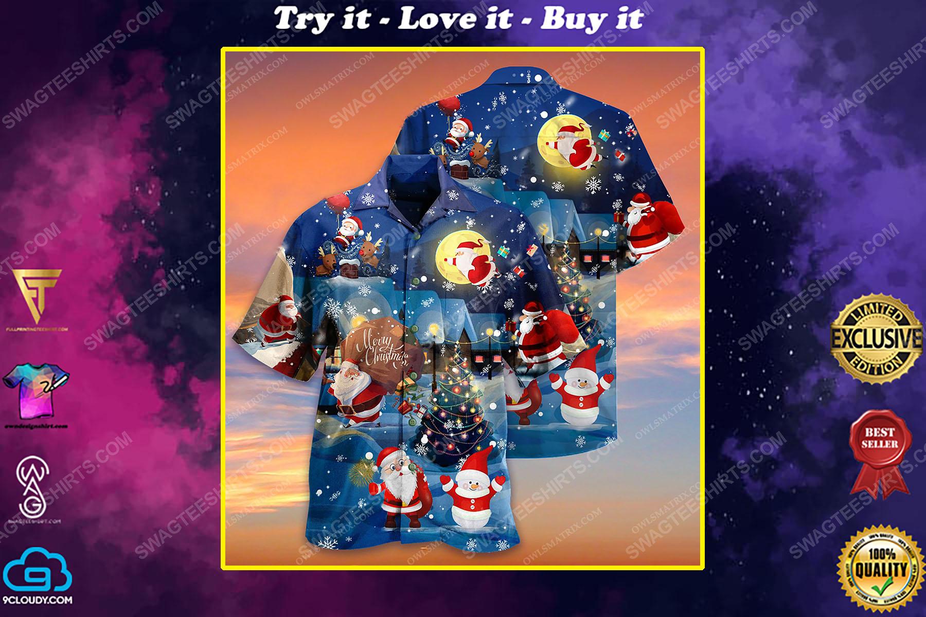 Christmas holiday love santa and gift full print hawaiian shirt