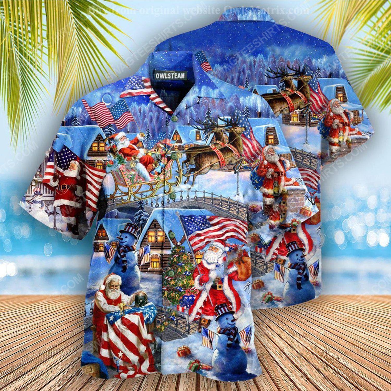 Christmas holiday santa american patriots full print hawaiian shirt 2