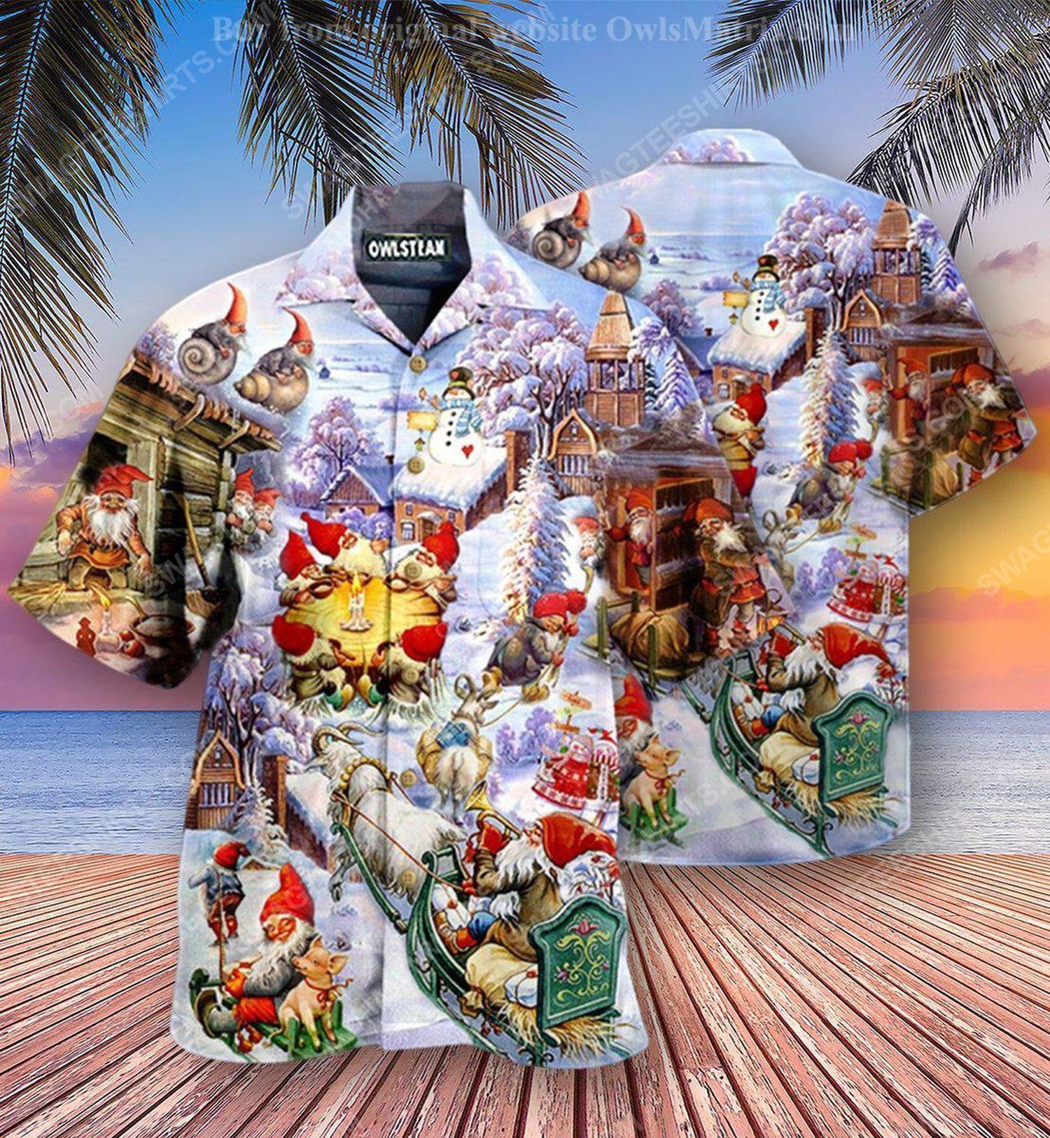 Christmas holiday santa gnomes full print hawaiian shirt 2