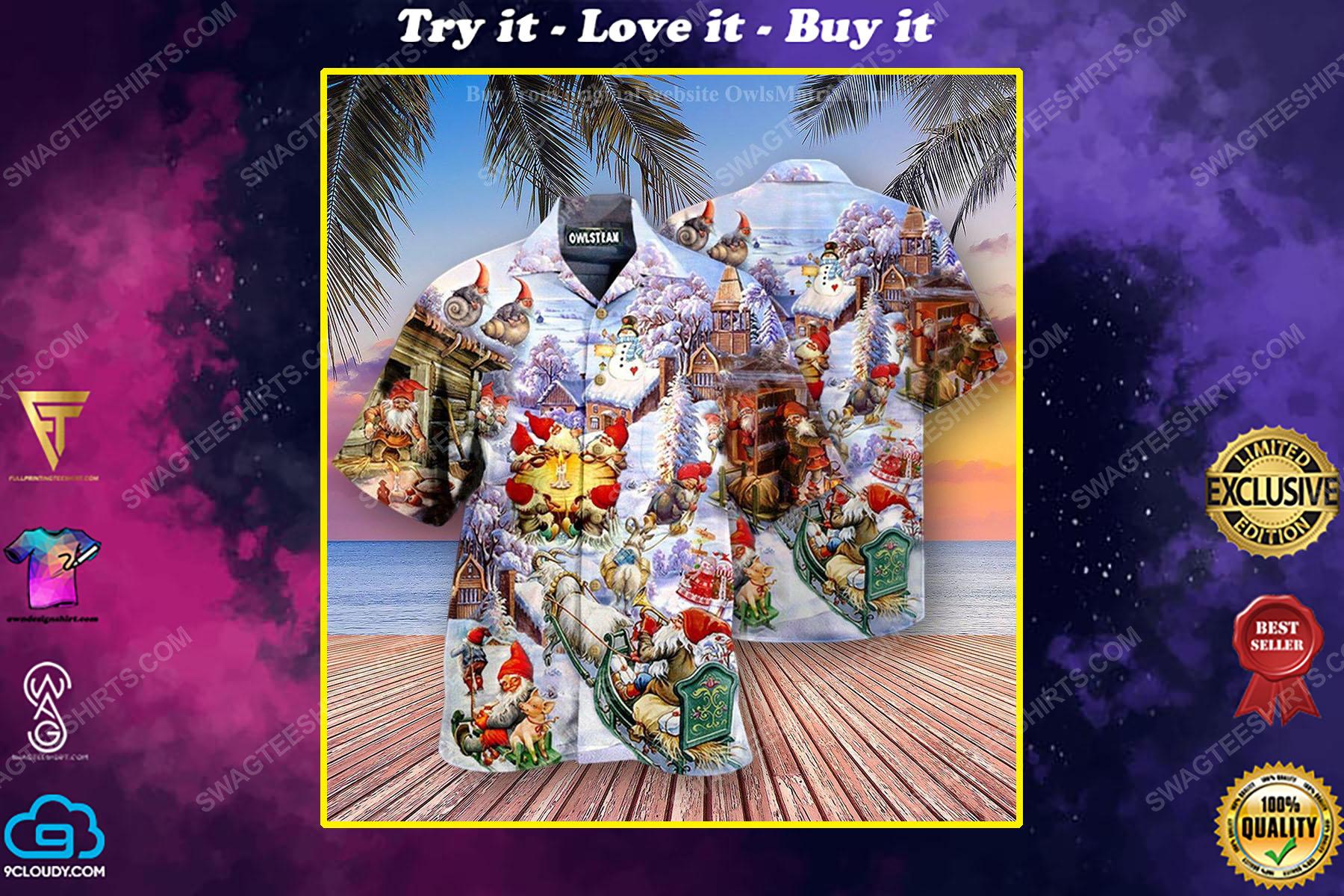 Christmas holiday santa gnomes full print hawaiian shirt