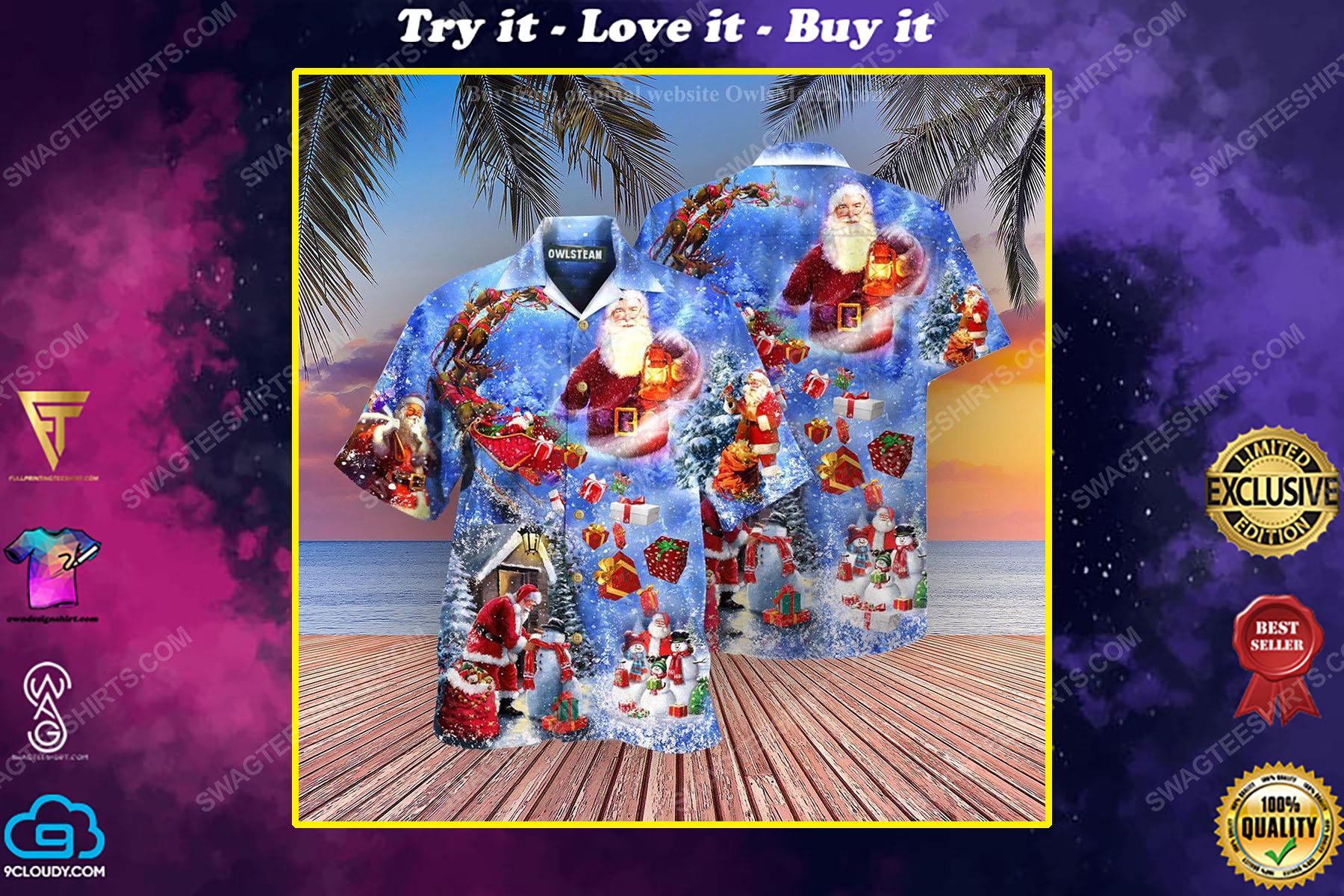Christmas holiday santa is coming town full print hawaiian shirt