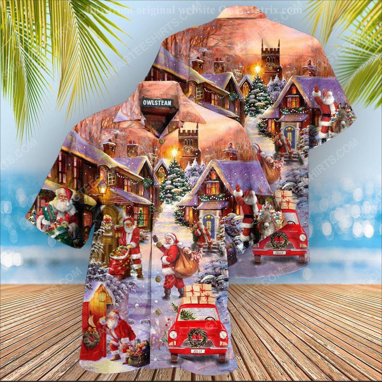 Christmas holiday santa is delivering love full print hawaiian shirt 2