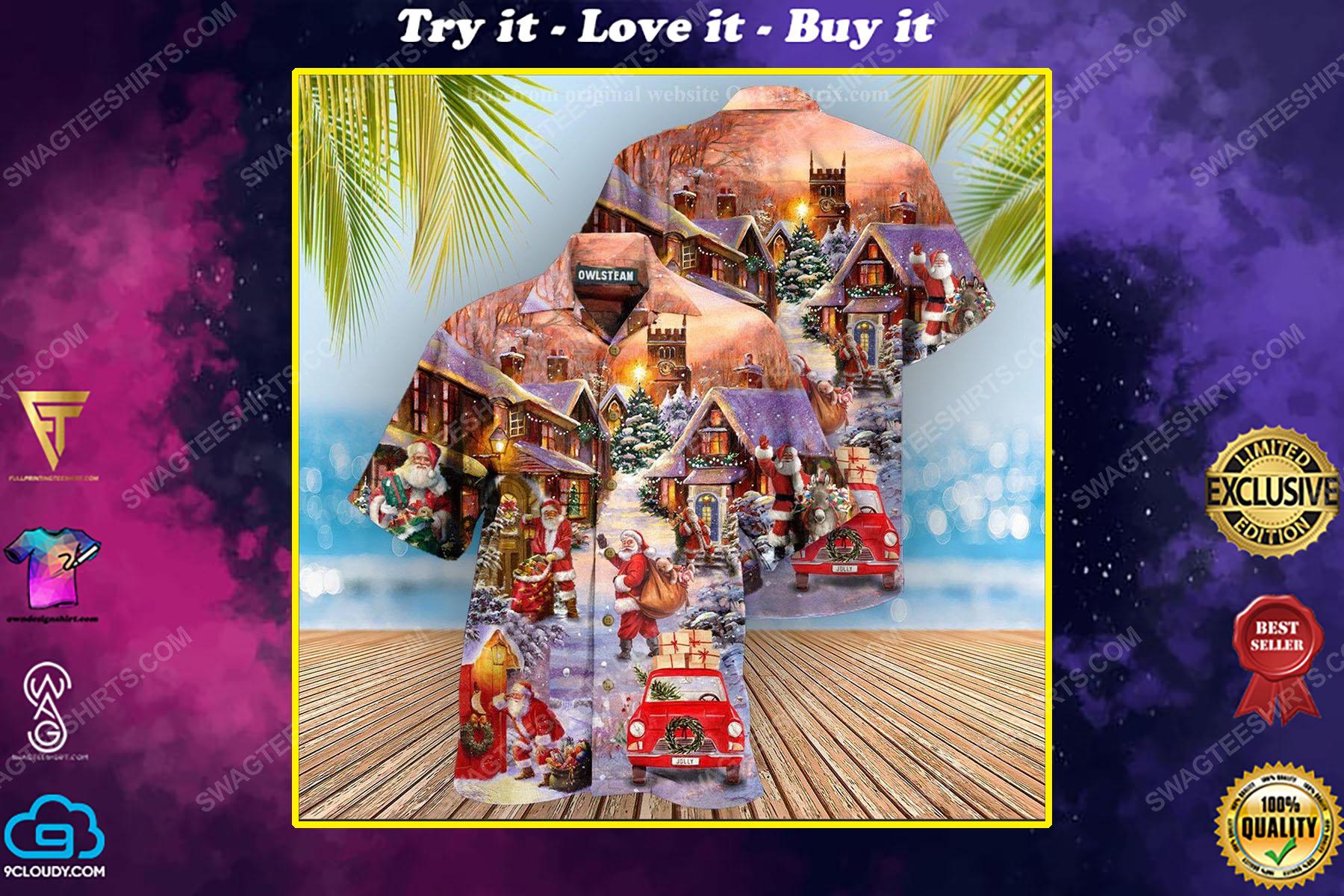 Christmas holiday santa is delivering love full print hawaiian shirt