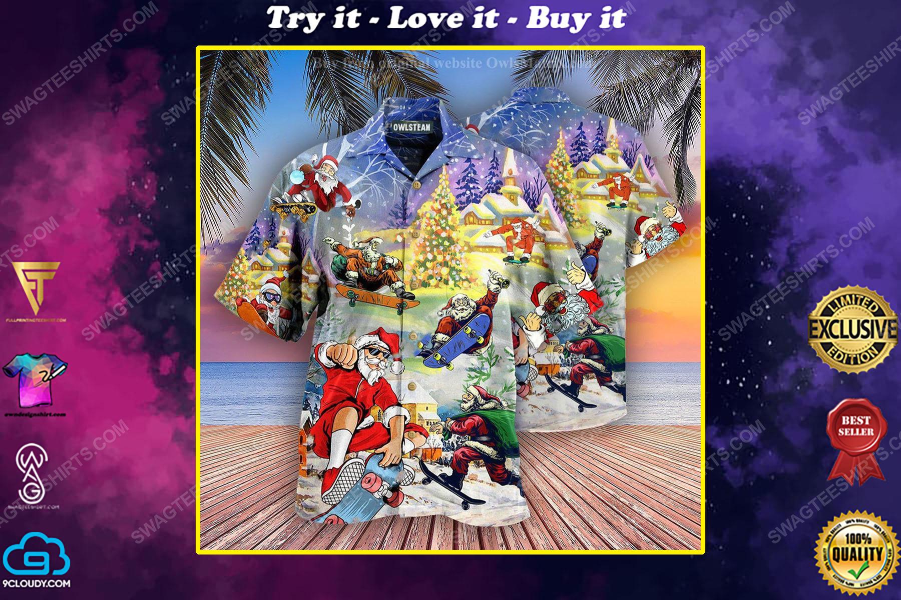 Christmas holiday santa jumping on skateboard full print hawaiian shirt