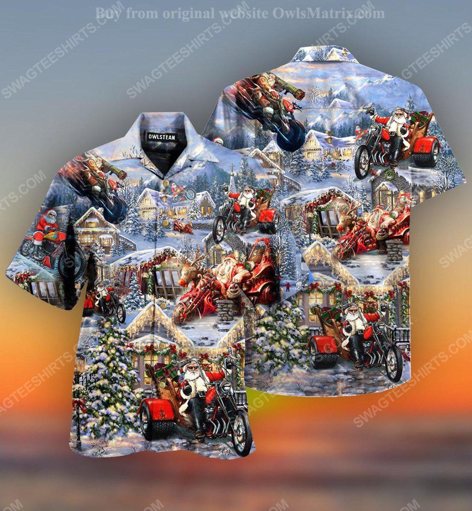 Christmas holiday santa riding motor full print hawaiian shirt 2 - Copy (2)