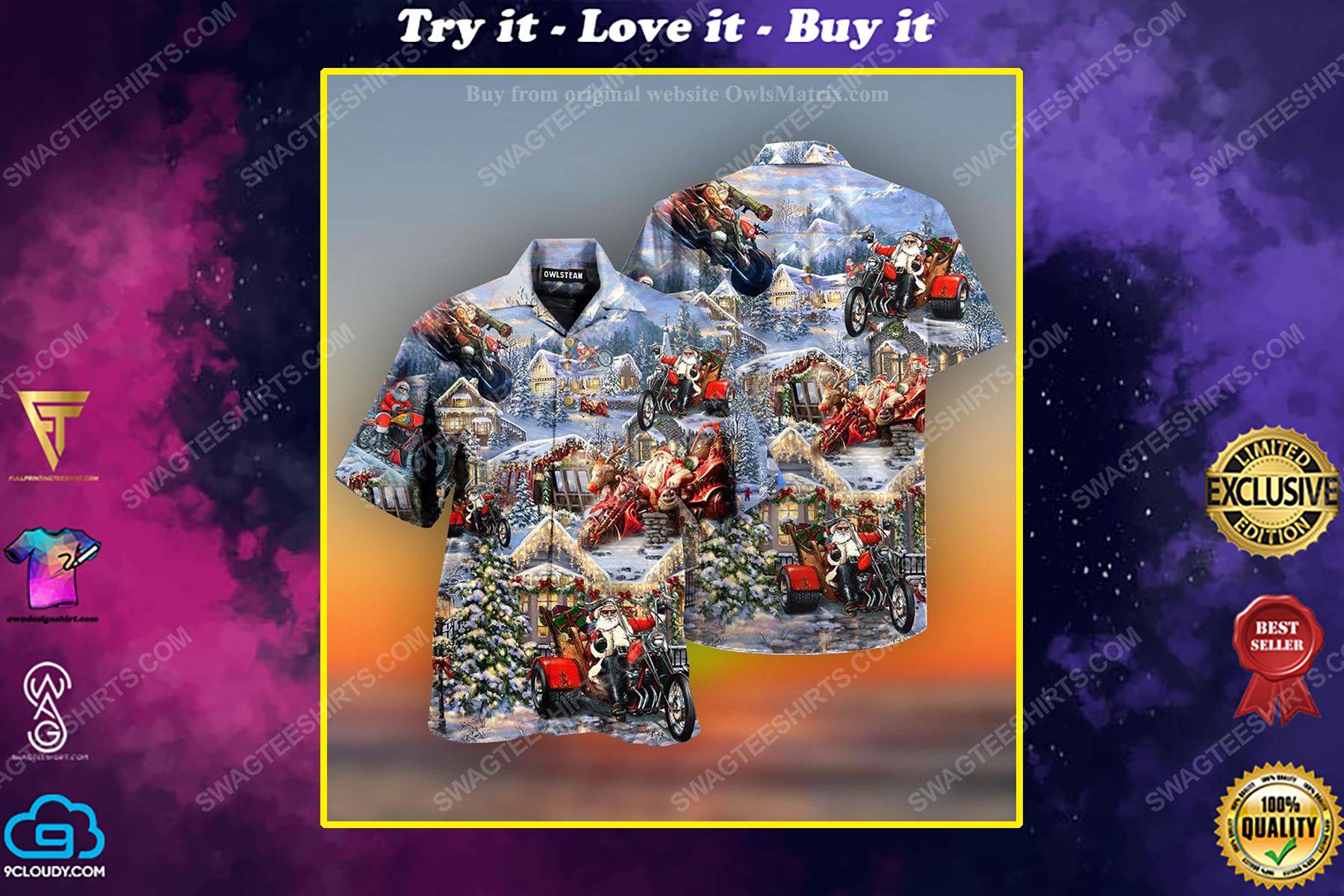 Christmas holiday santa riding motor full print hawaiian shirt