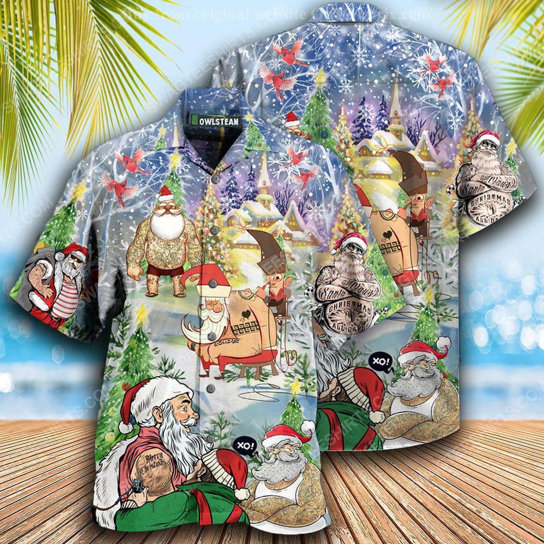 Christmas holiday santa with tattoo full print hawaiian shirt 2