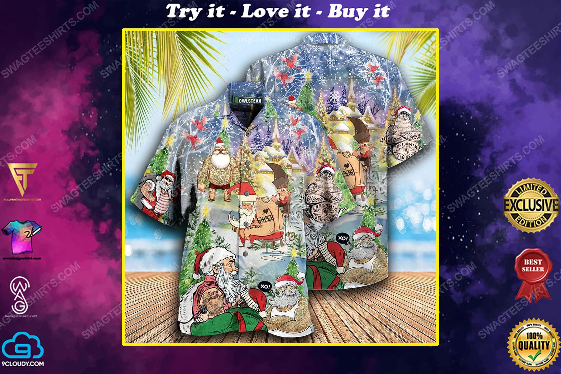 Christmas holiday santa with tattoo full print hawaiian shirt