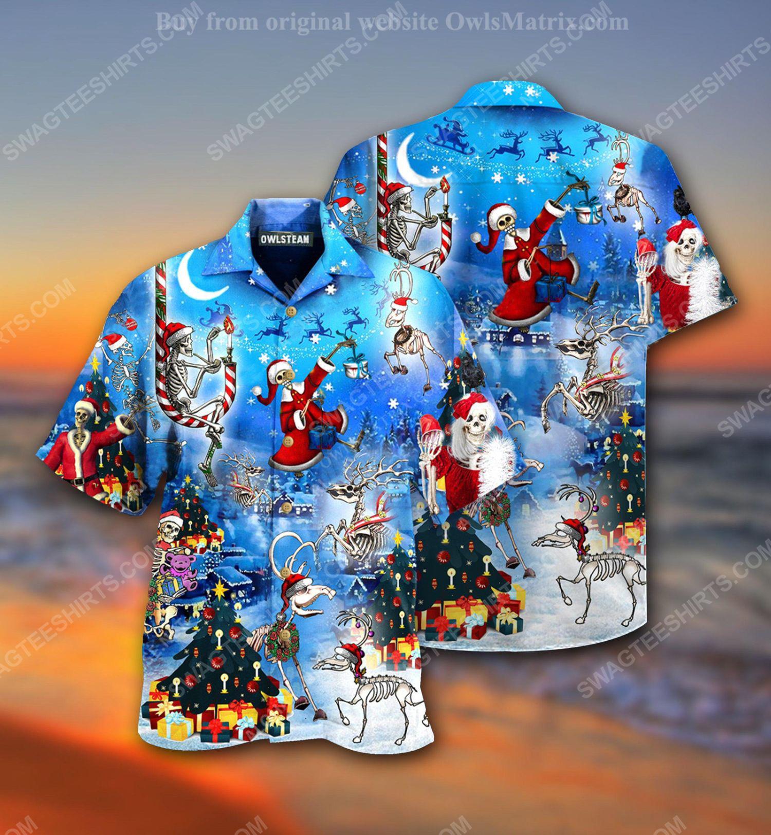 Christmas holiday skull version full print hawaiian shirt 2