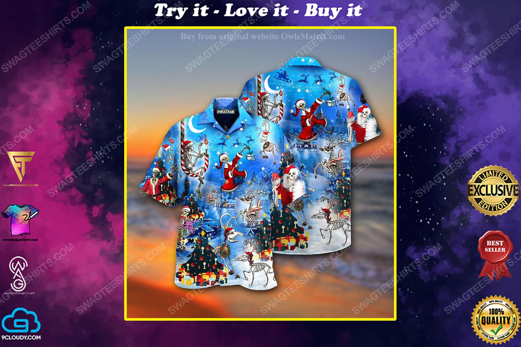 Christmas holiday skull version full print hawaiian shirt