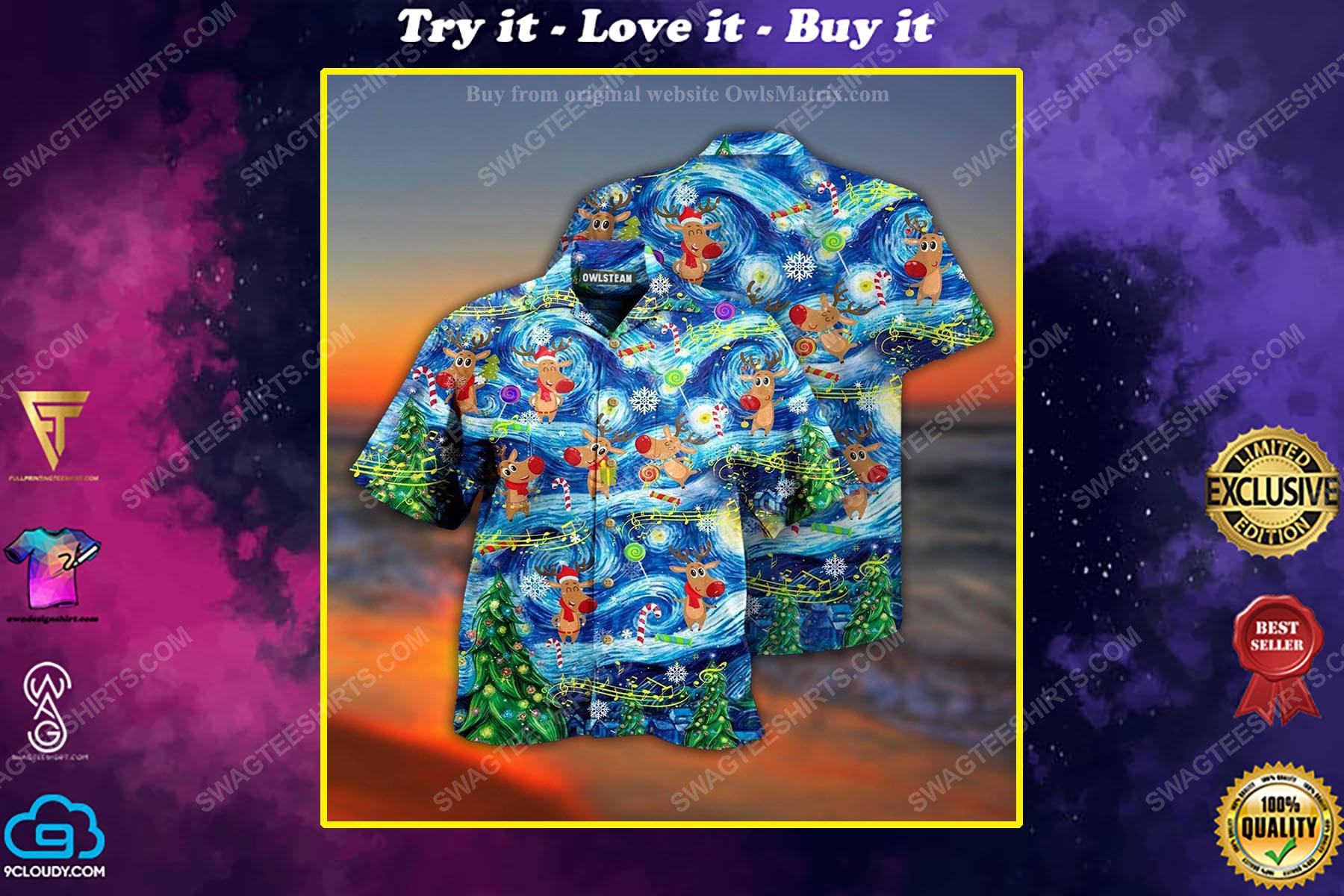Christmas holiday starry night reindeer full print hawaiian shirt