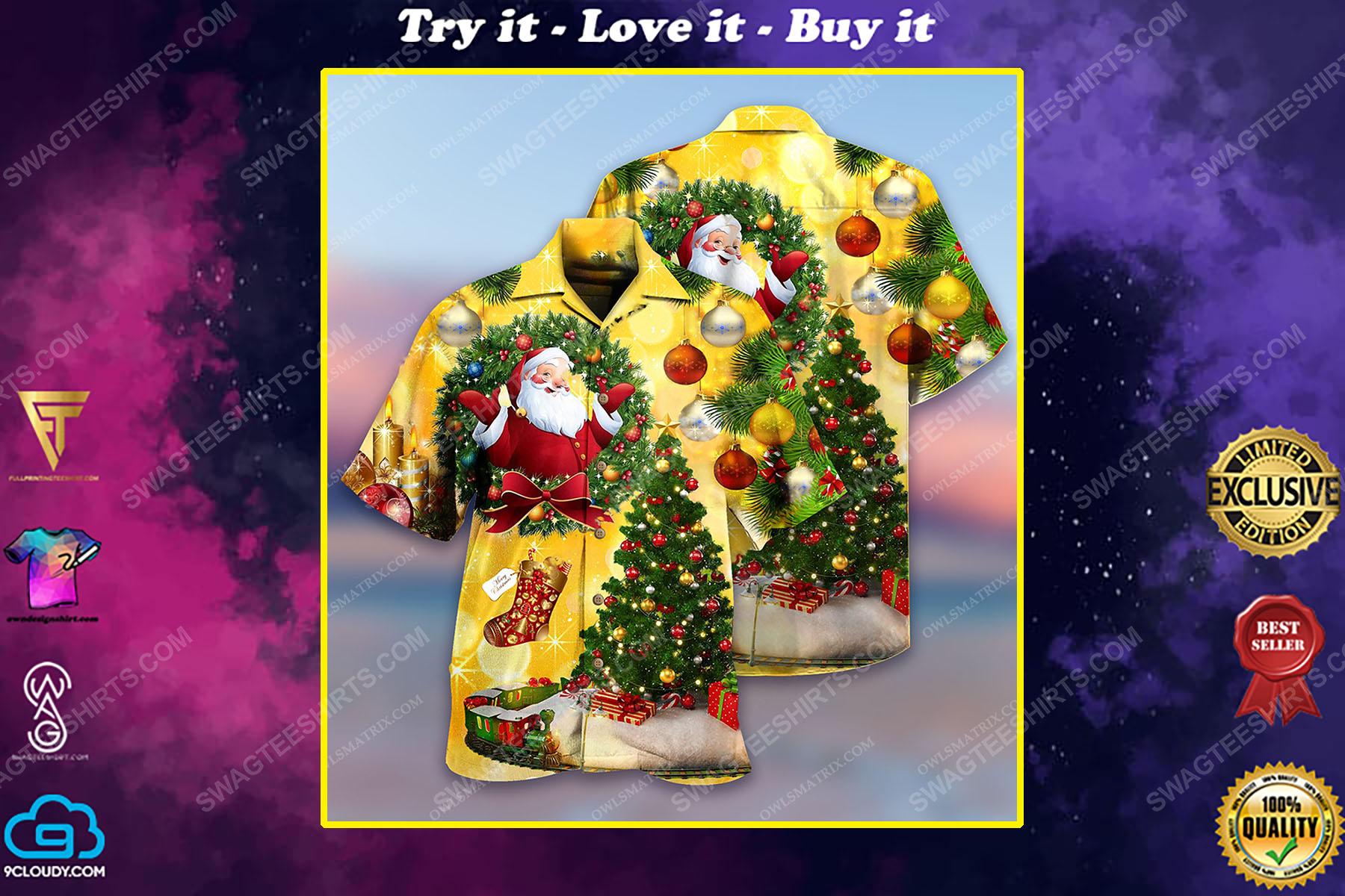 Christmas tree and santa claus full print hawaiian shirt