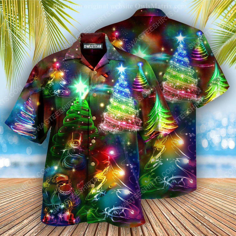 Colorful neon christmas tree full print hawaiian shirt 2