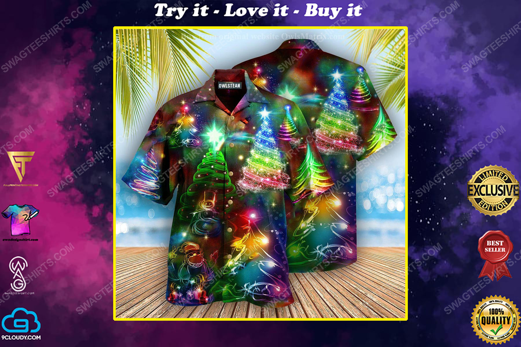 Colorful neon christmas tree full print hawaiian shirt