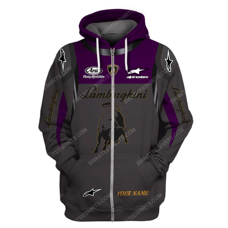 Custom lamborghini squadra corse racing team motorsport full printing zip hoodie