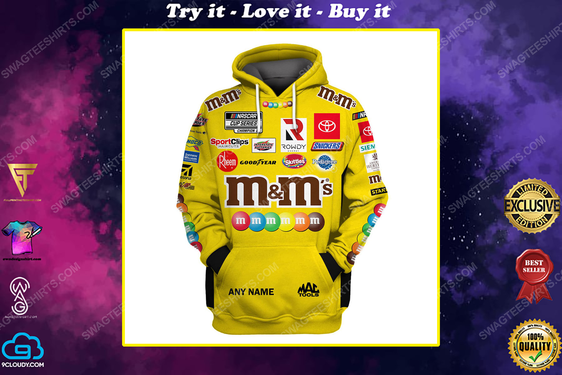 Custom m and m nascar racing team motorsport full printing shirt