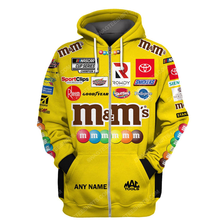 Custom m and m nascar racing team motorsport full printing zip hoodie