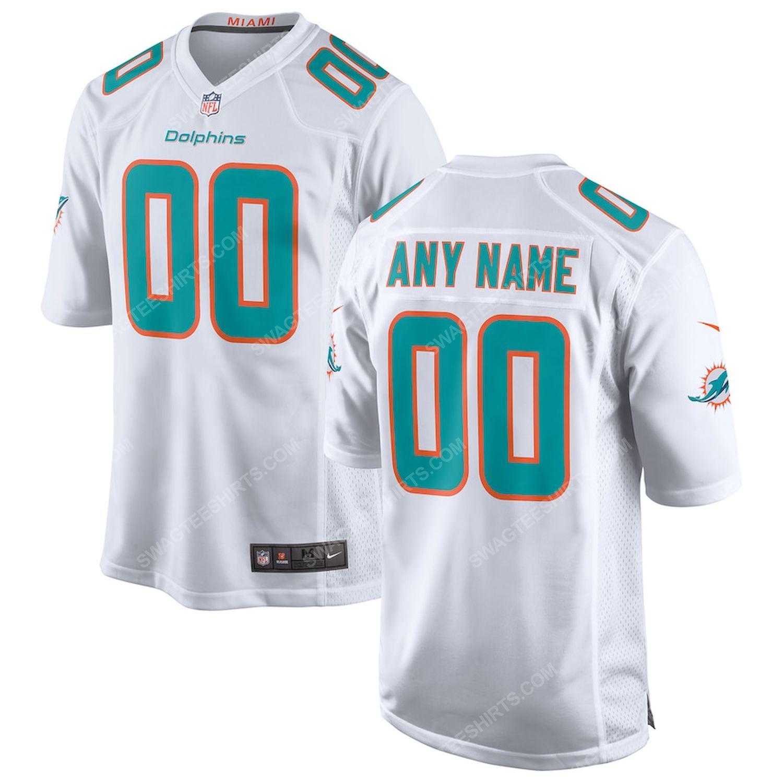 Custom miami dolphins football full print football jersey-white - Copy