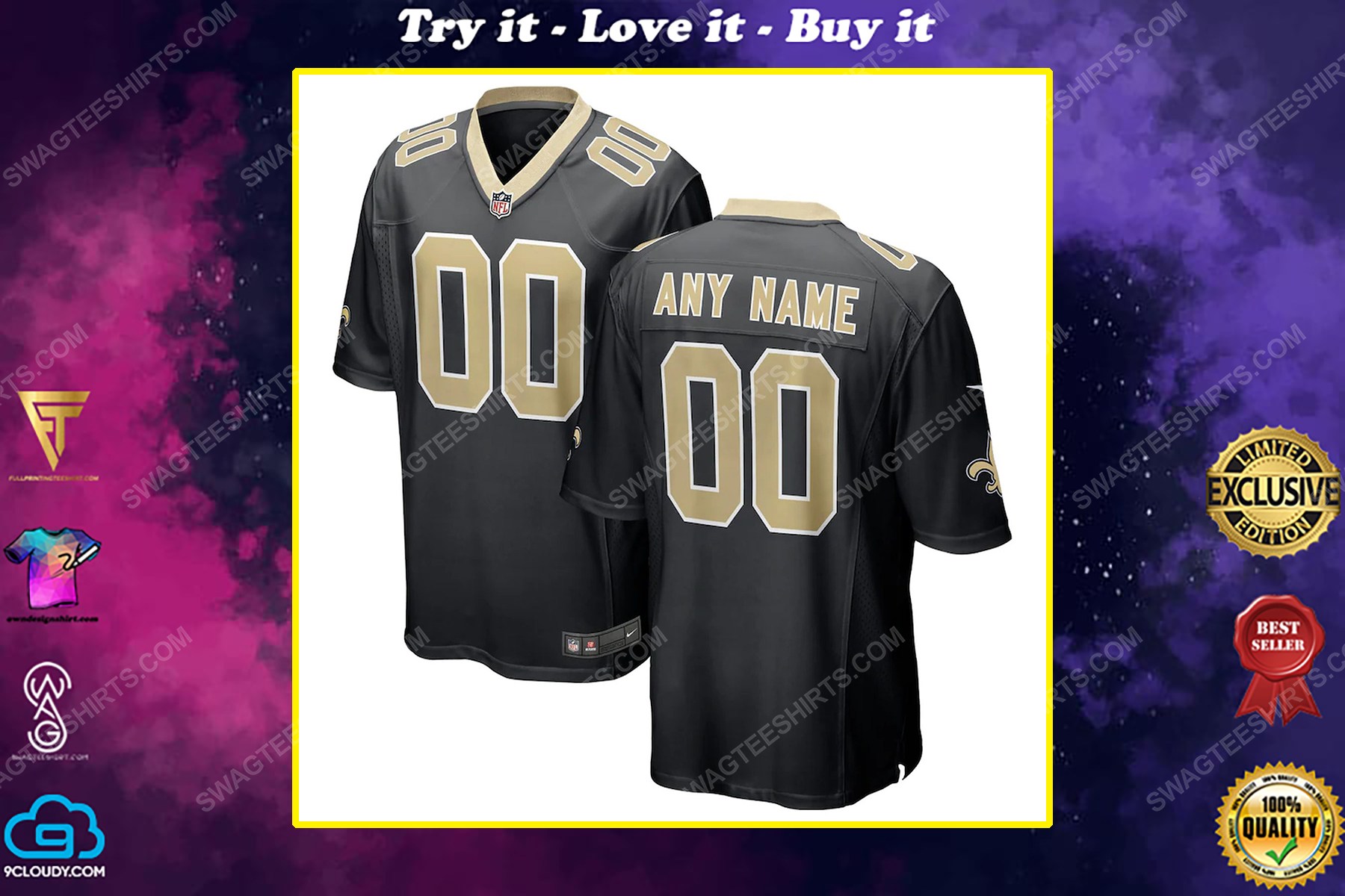 Custom new orleans saints team full print football jersey