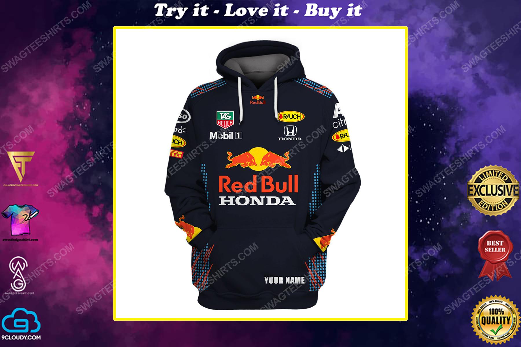 Custom red bull honda racing team motorsport full printing shirt