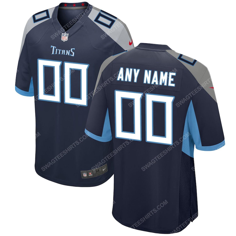 Custom tennessee titans football full print football jersey- navy - Copy
