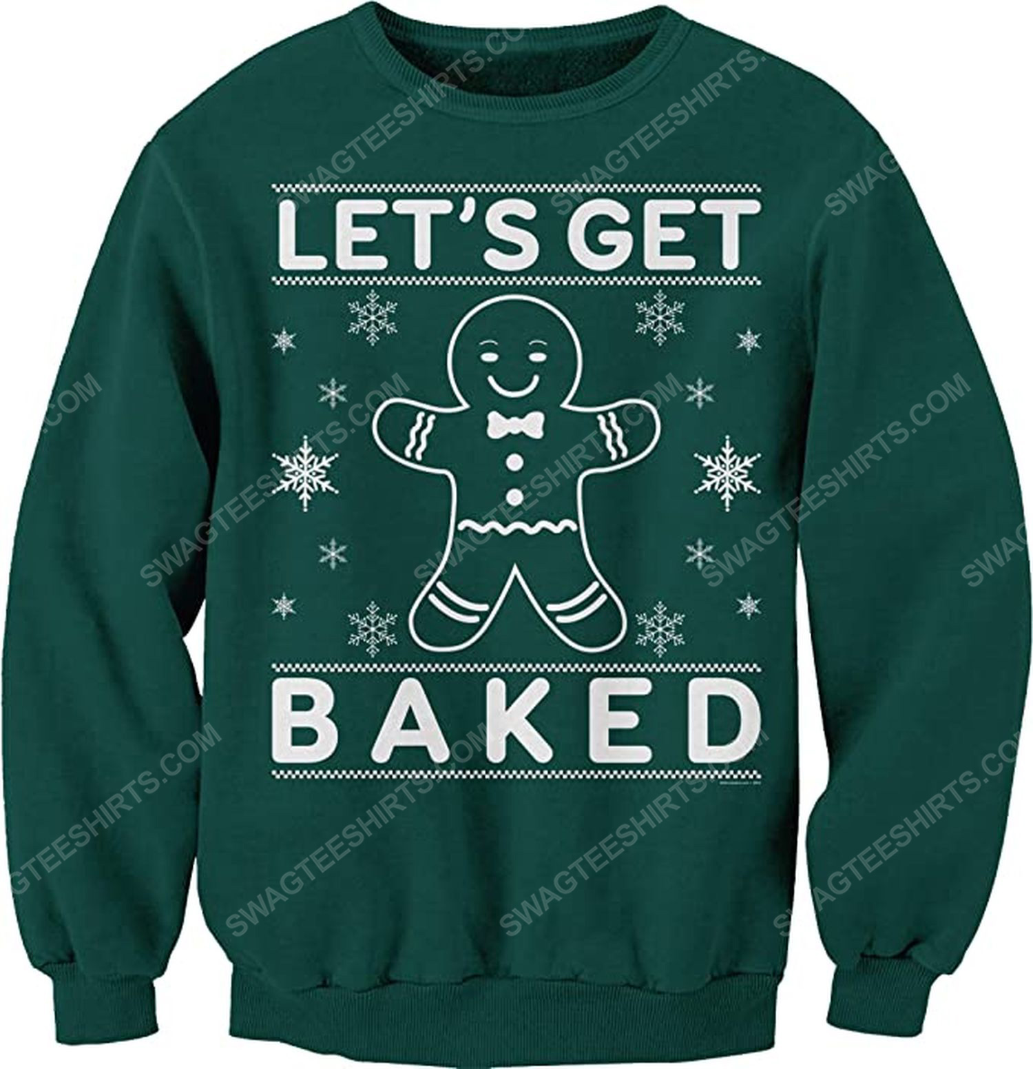 Let's get baked happy gingerbread full print ugly christmas sweater 2