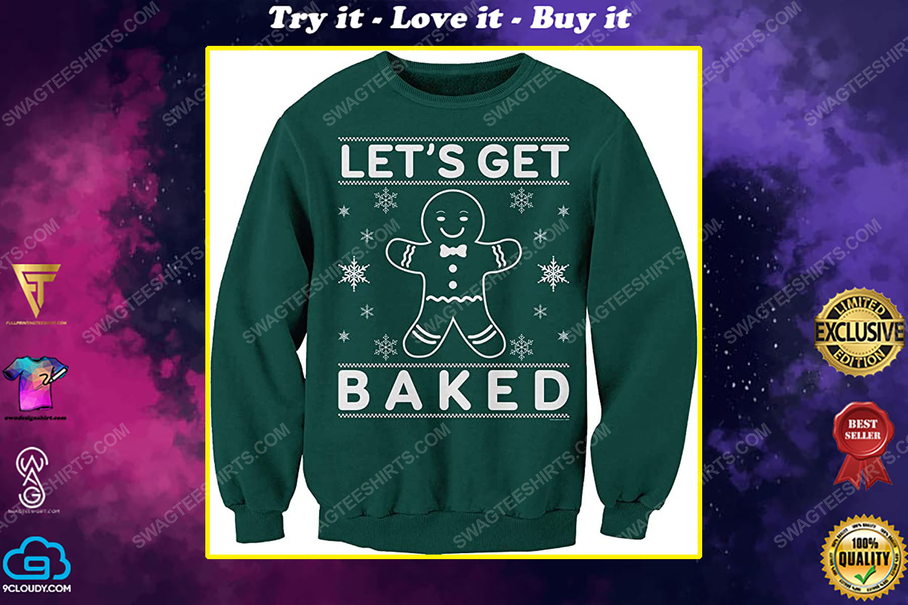 Let's get baked happy gingerbread full print ugly christmas sweater
