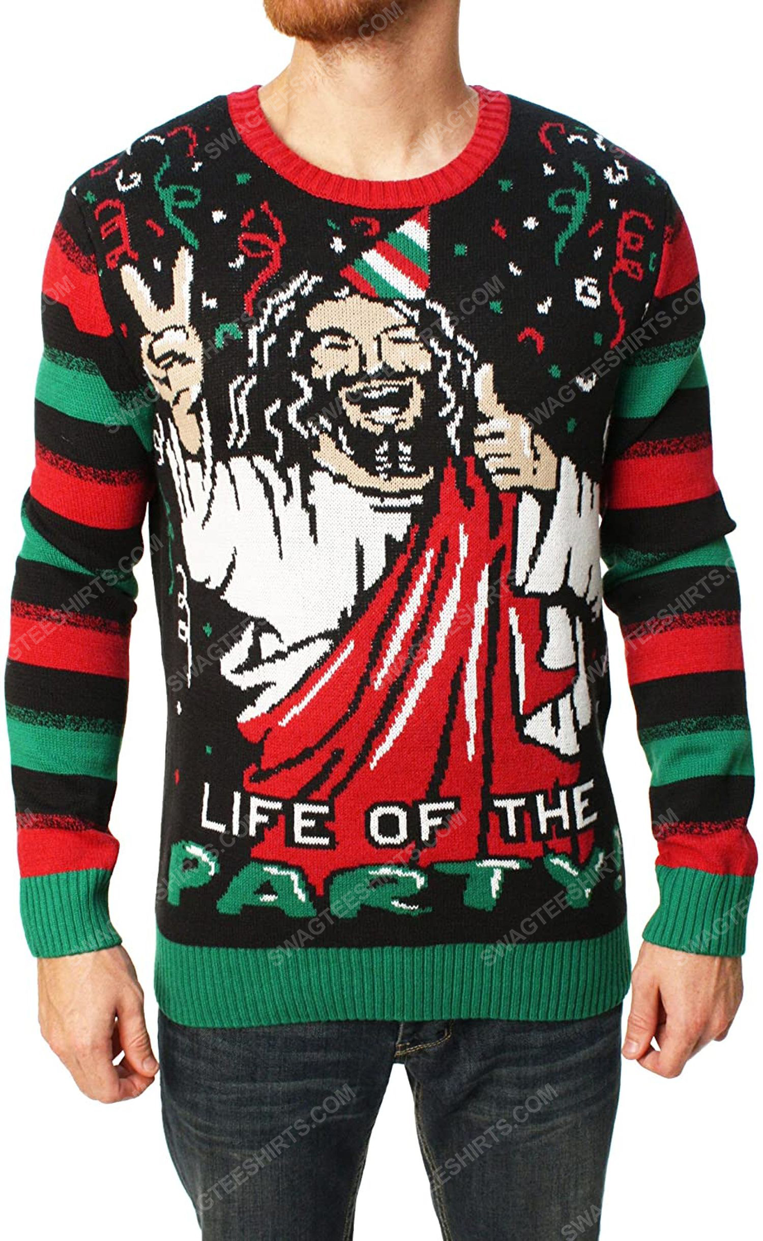 Life of the party full print ugly christmas sweater 2
