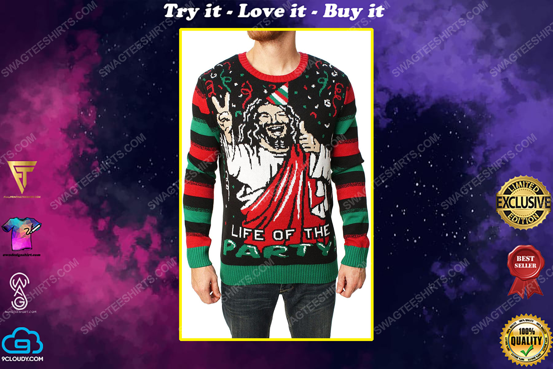 Life of the party full print ugly christmas sweater