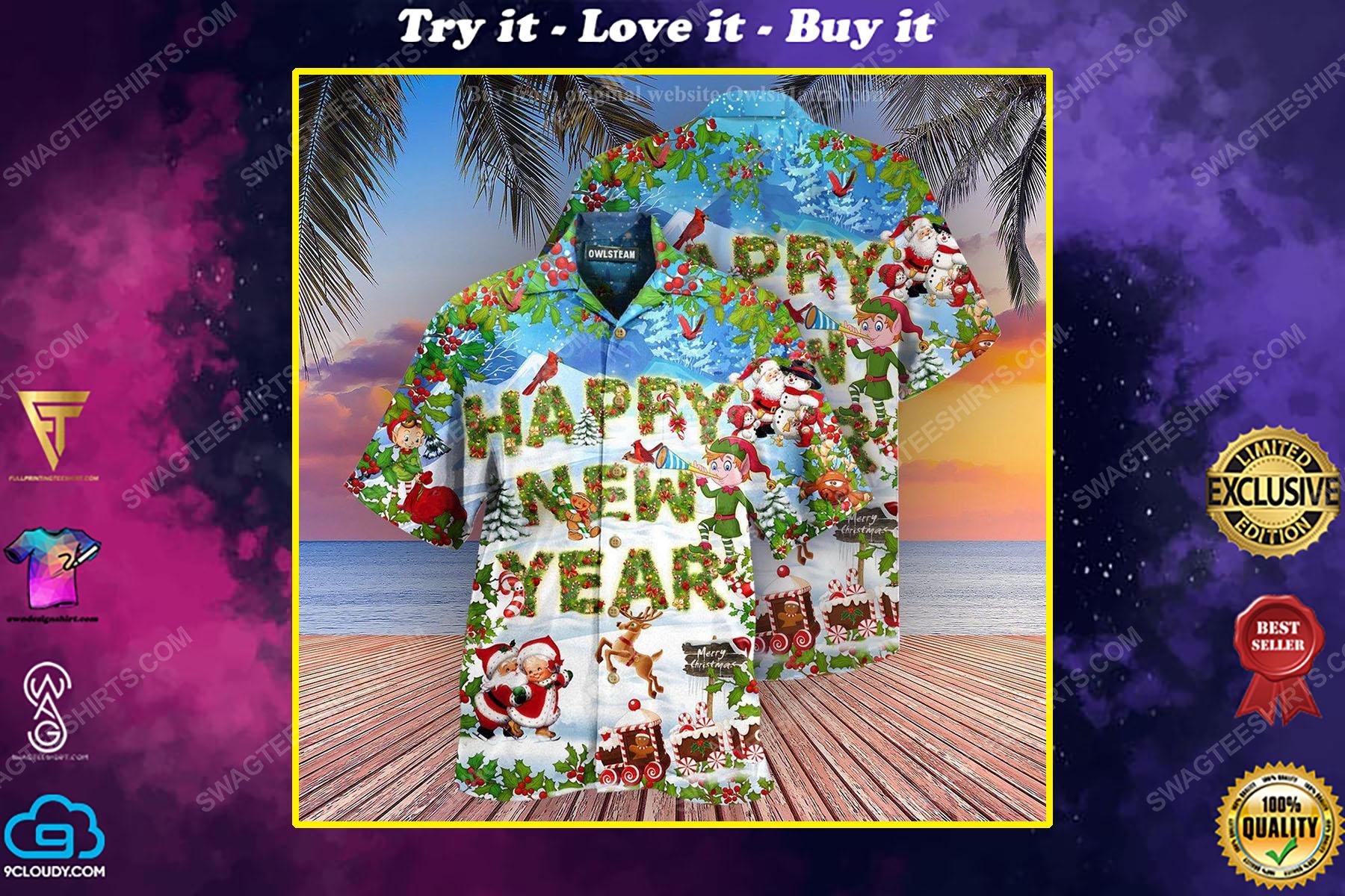 Merry christmas and happy new year full print hawaiian shirt