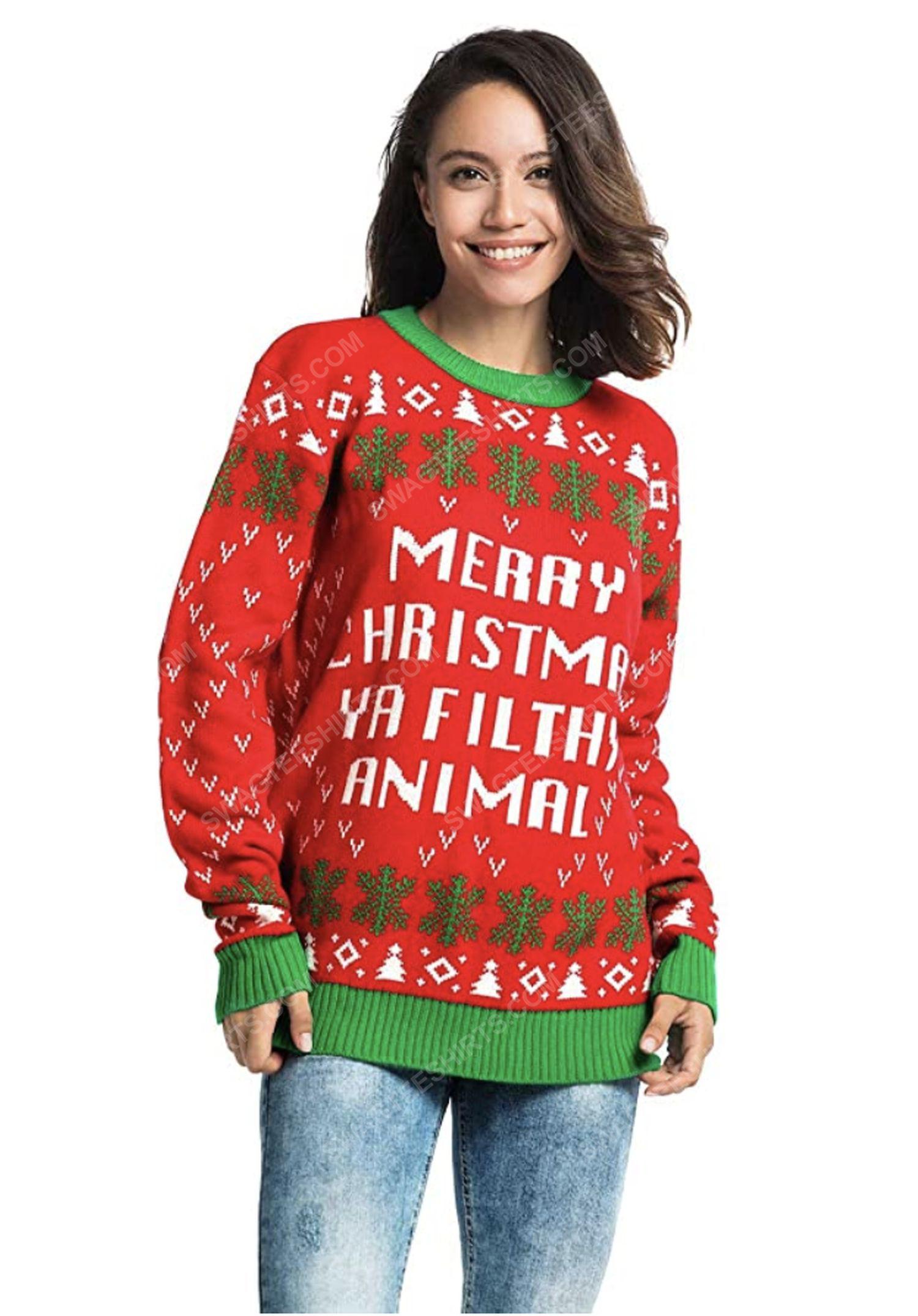 Merry christmas ya filthy animal full print ugly christmas sweater 2
