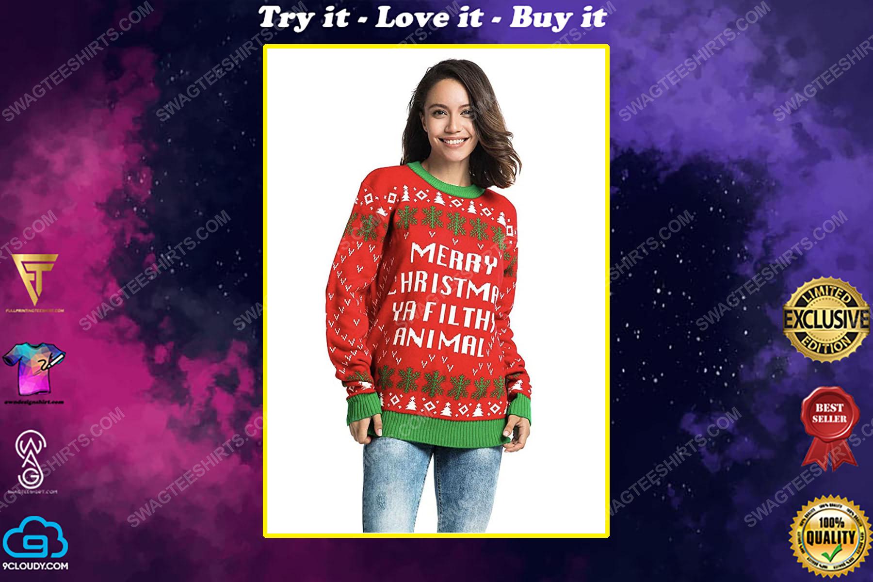 Merry christmas ya filthy animal full print ugly christmas sweater