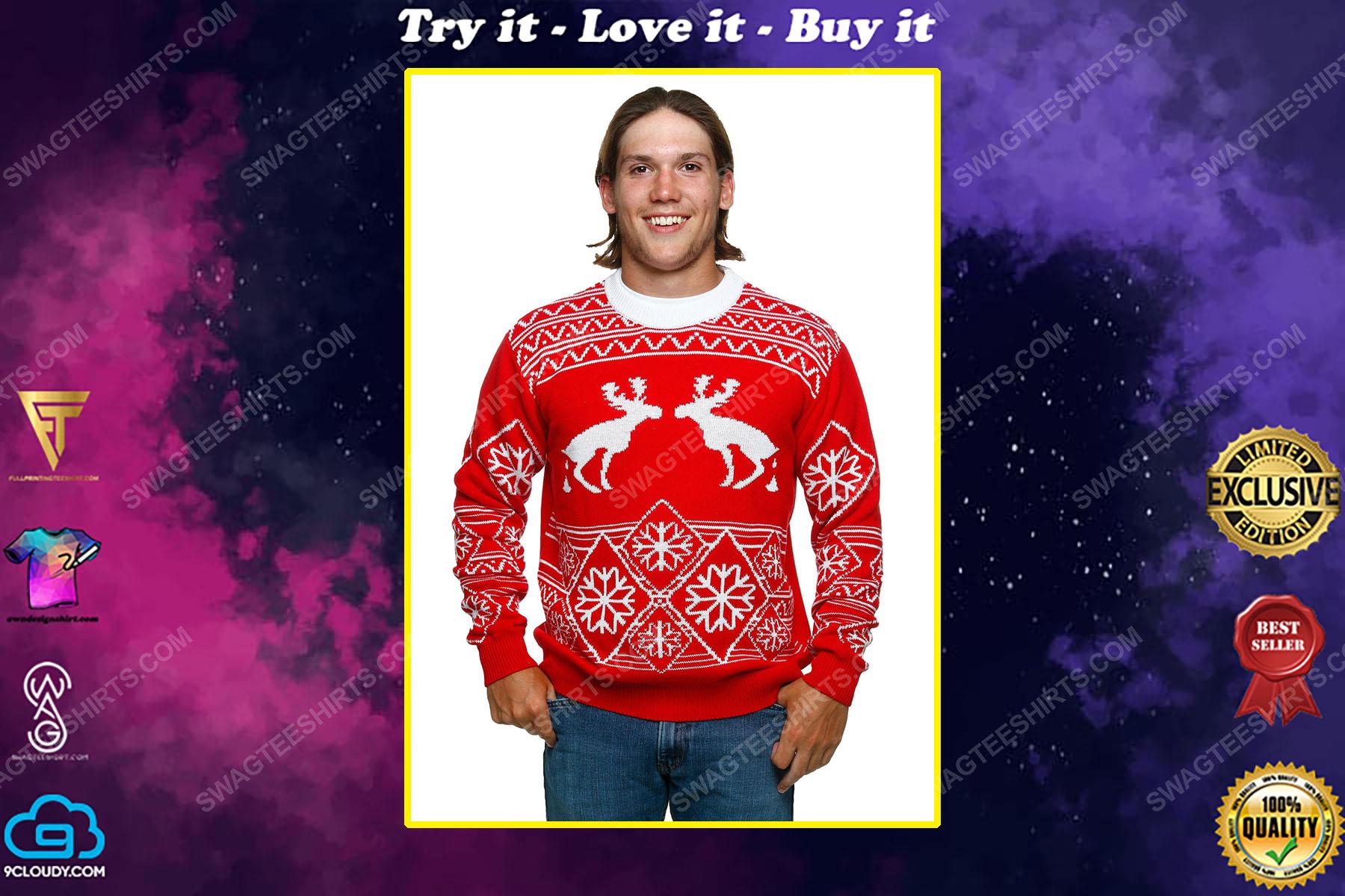 Pooping moose full print ugly christmas sweater