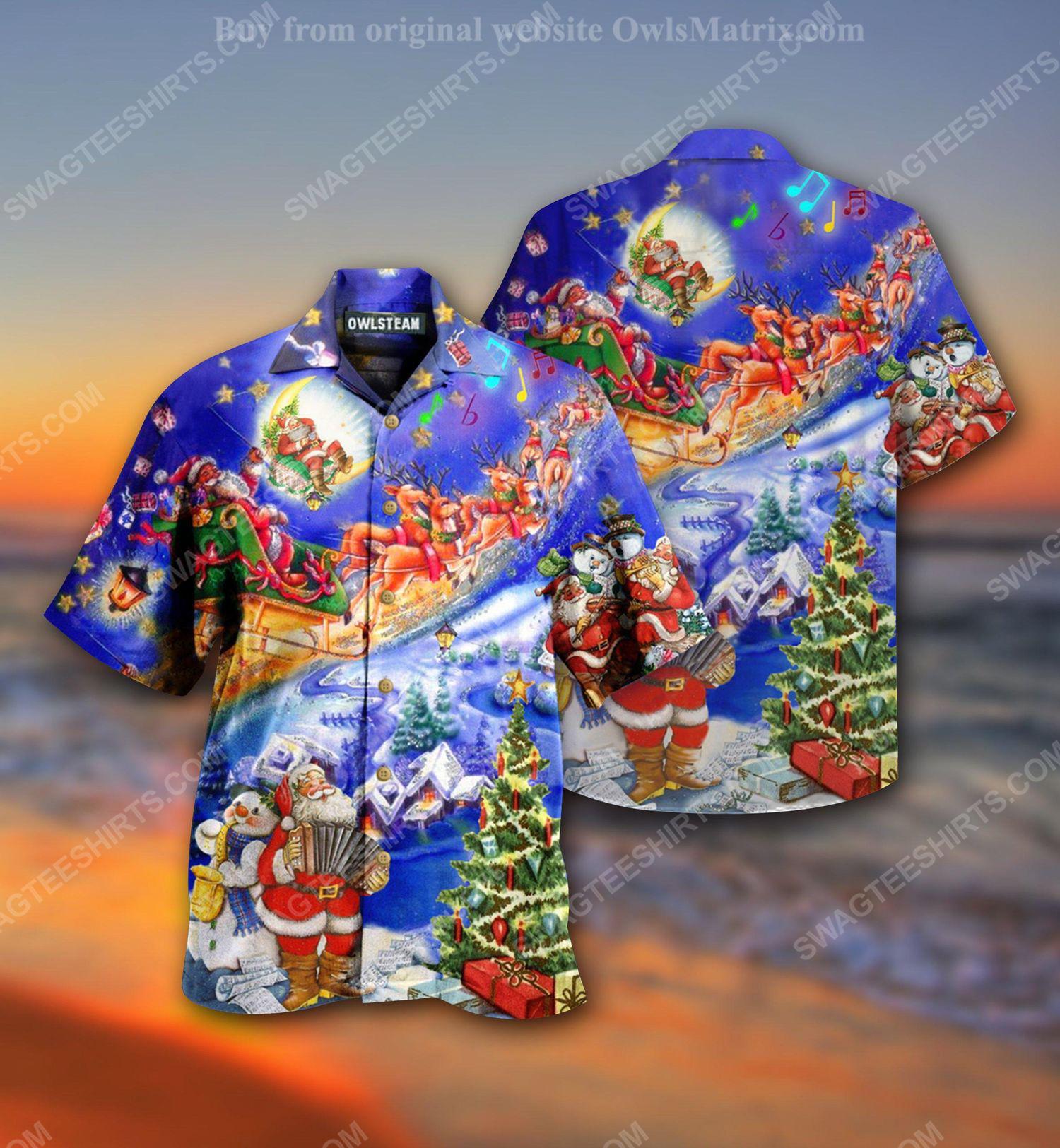 Santa claus loves christmas holiday full print hawaiian shirt 2
