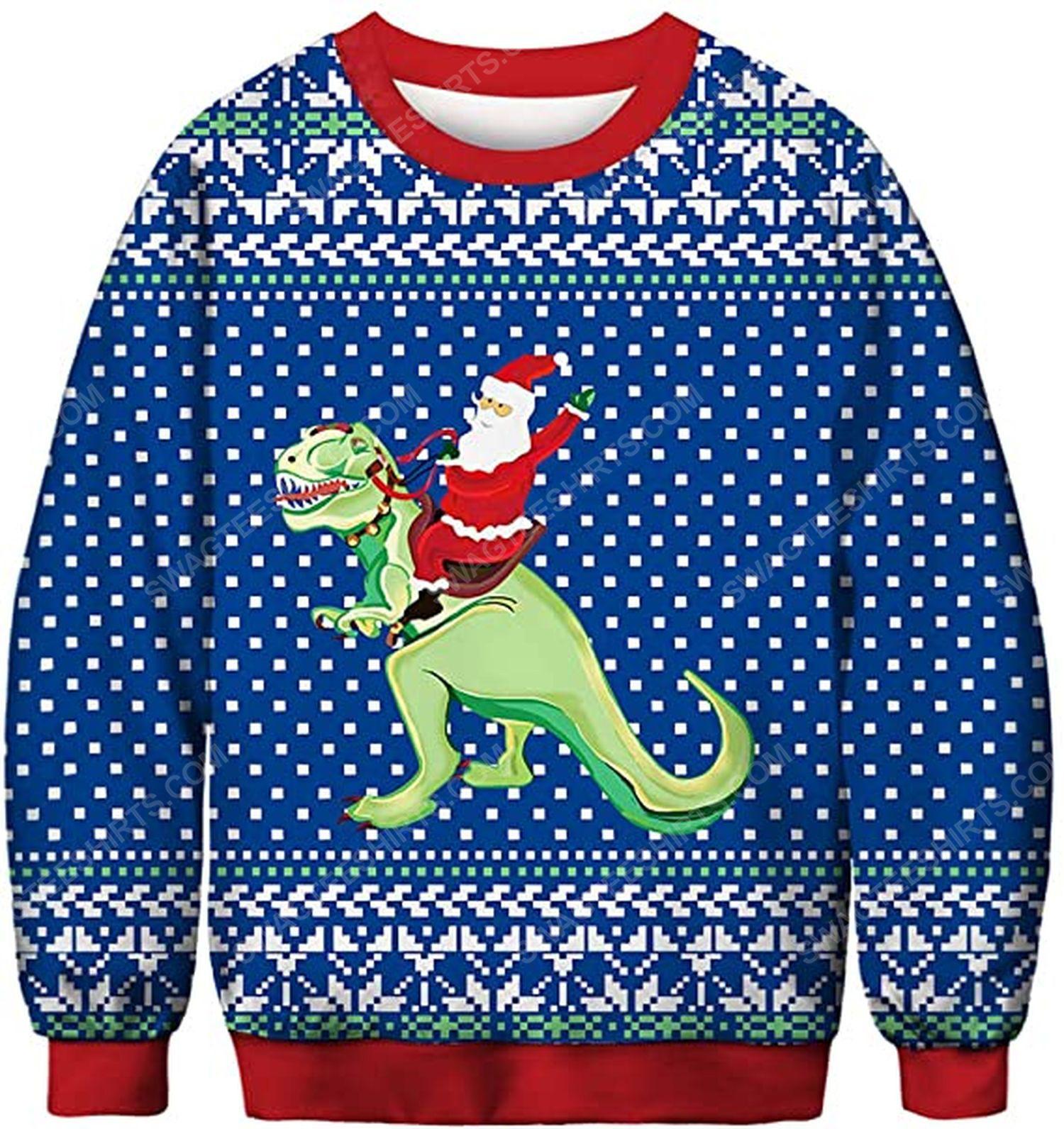 Santa claus riding a dinosaur full print ugly christmas sweater 2