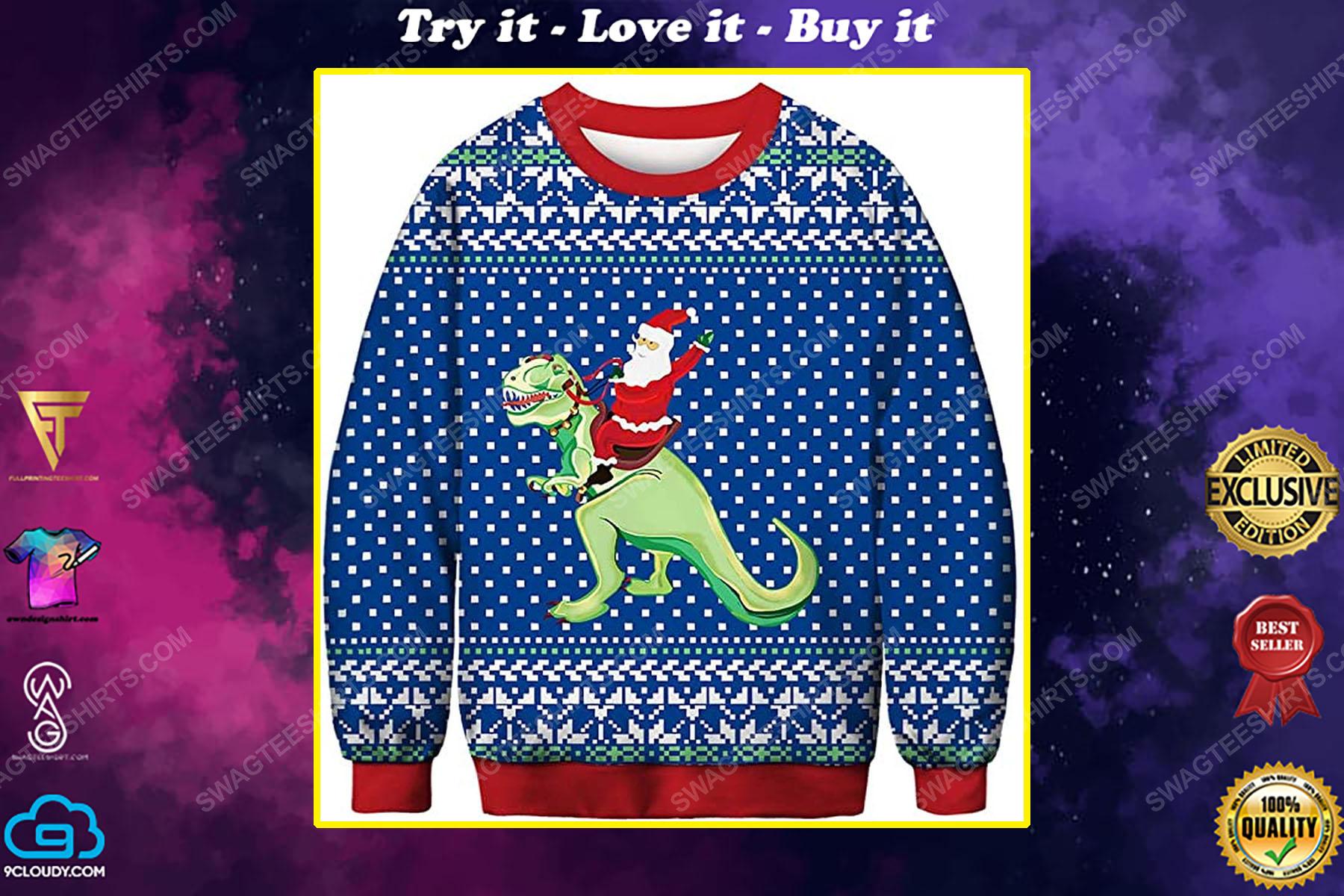 Santa claus riding a dinosaur full print ugly christmas sweater