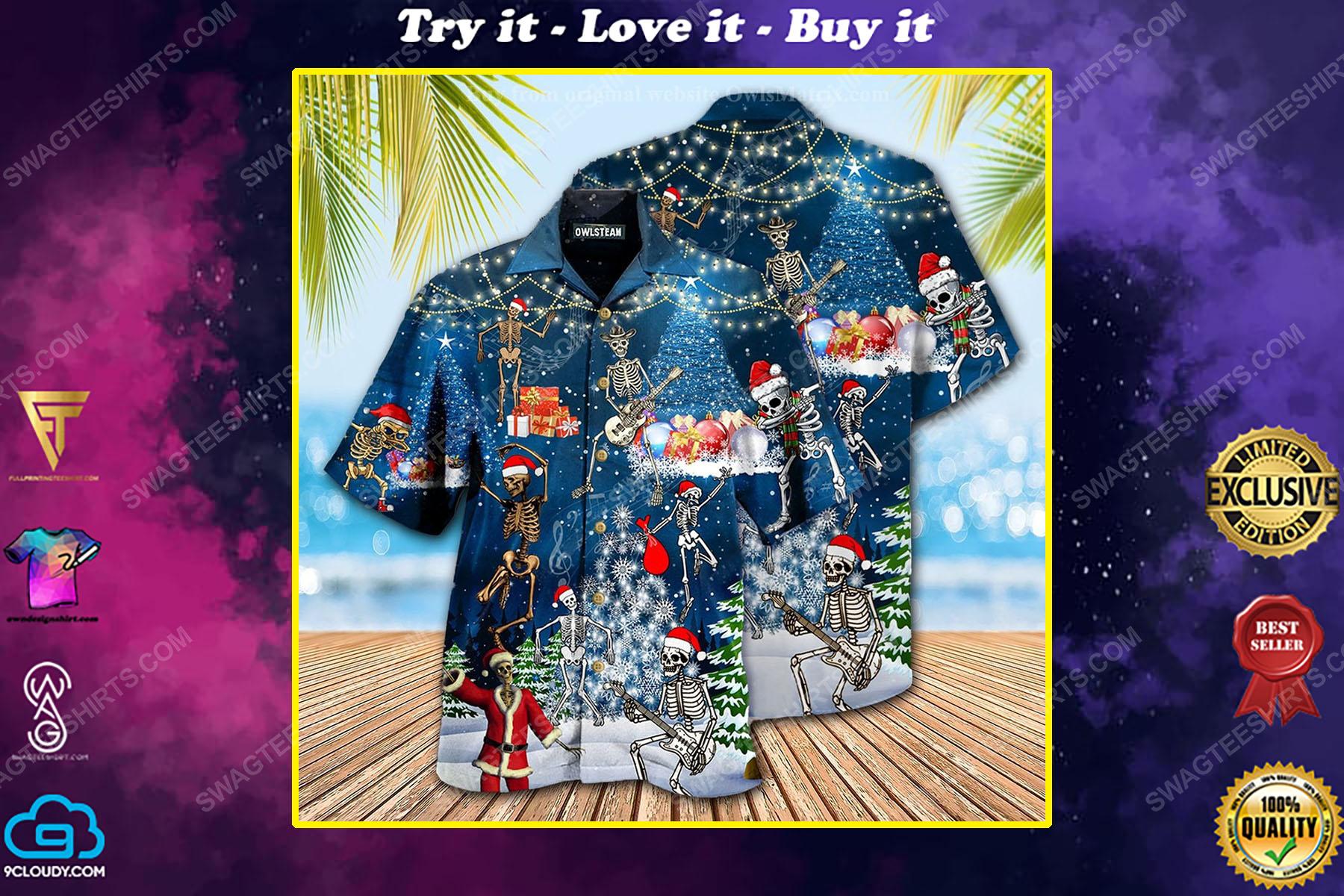 Skull dabbing and merry christmas full print hawaiian shirt