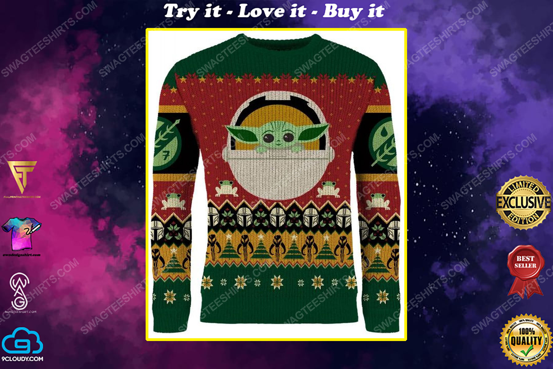 Star wars the mandalorian full print ugly christmas sweater
