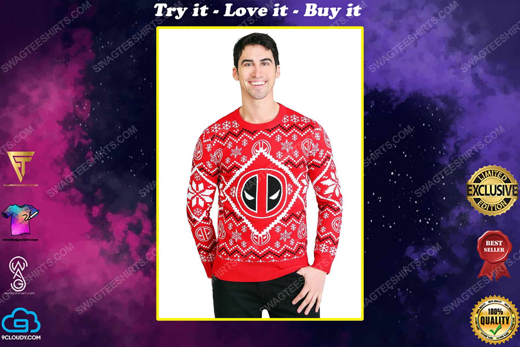 The deadpool icon full print ugly christmas sweater
