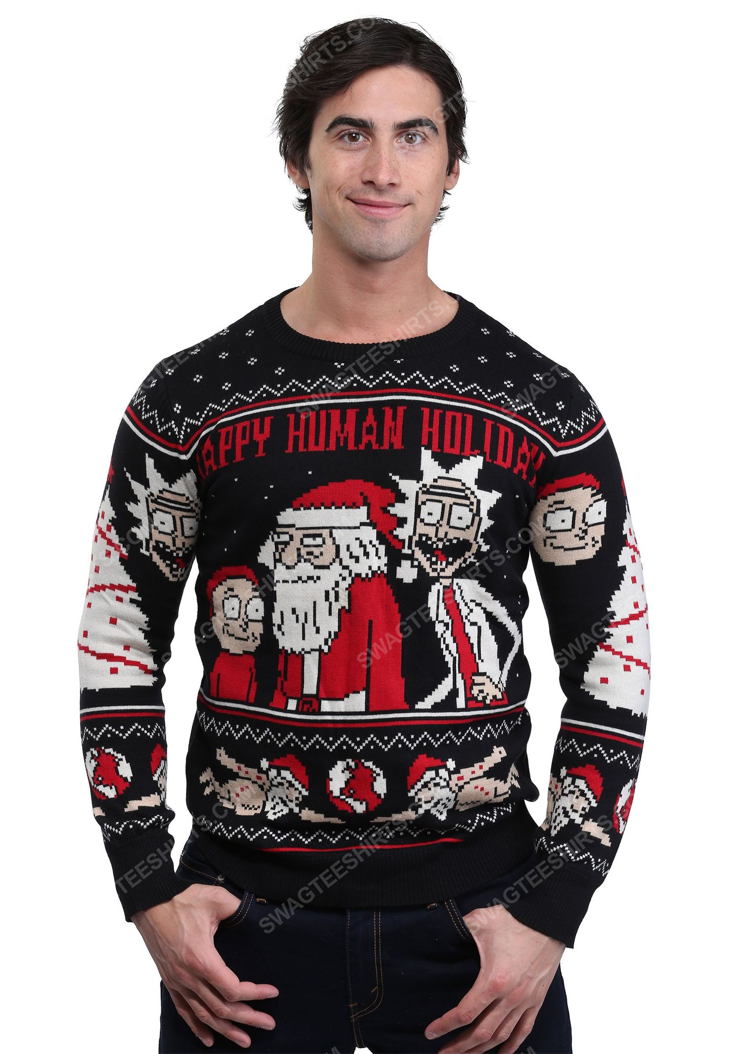 Tv show rick and morty happy human holiday ugly christmas sweater 2