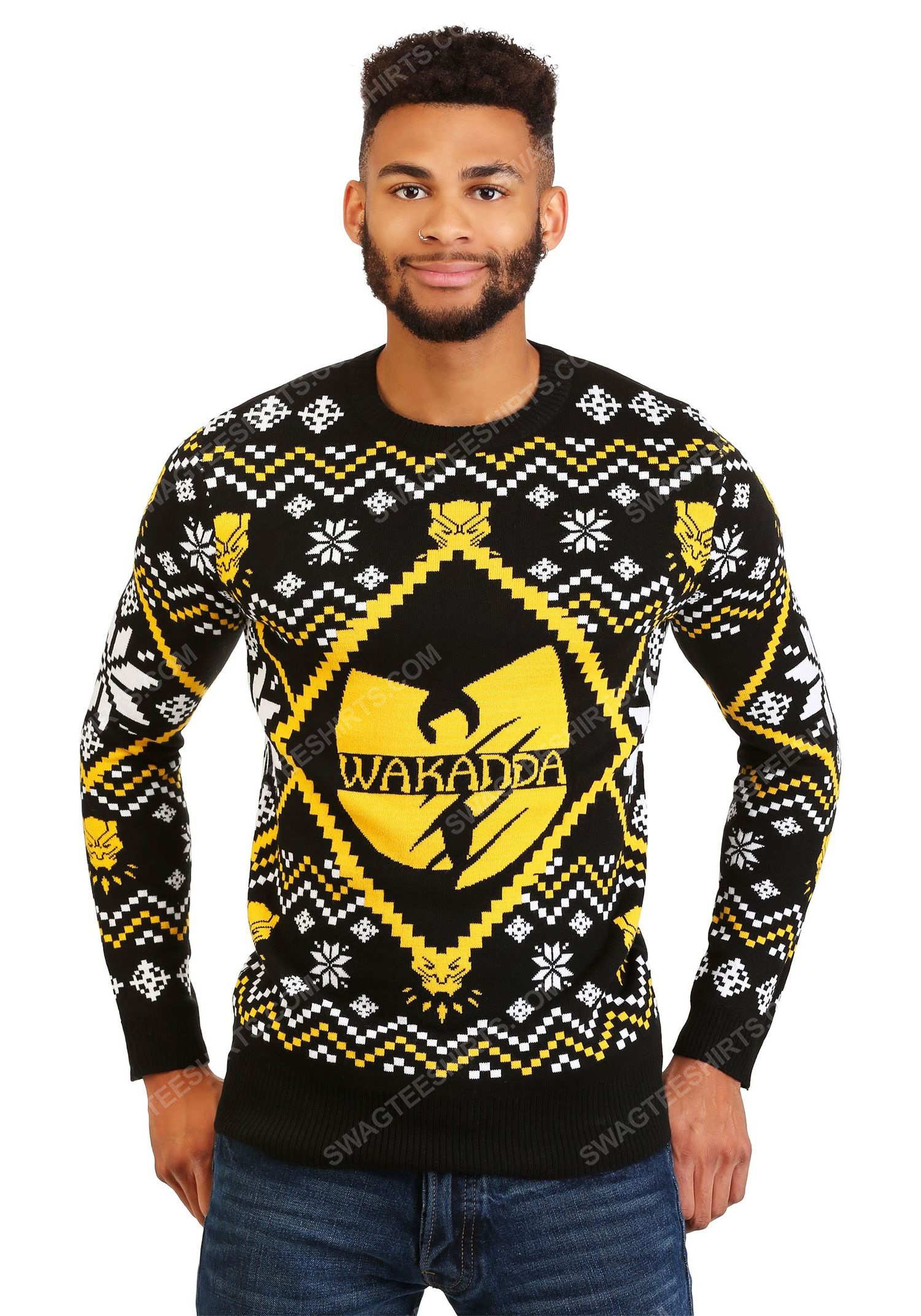 Wu tang clan black panther wakanda ugly christmas sweater 2 - Copy