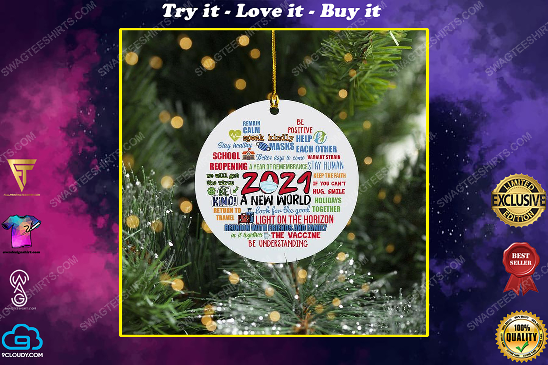 2021 social distancing a new world christmas time ornament