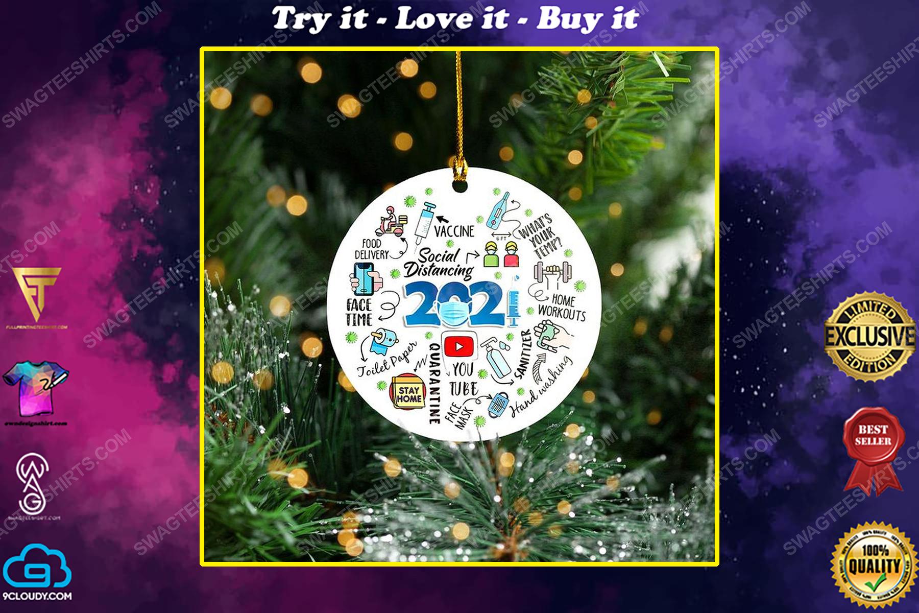 2021 social distancing christmas time ornament