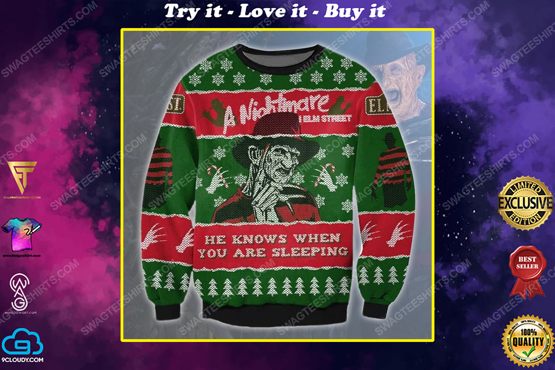 A nightmare on elm street he know when you are sleeping ugly christmas sweater 1