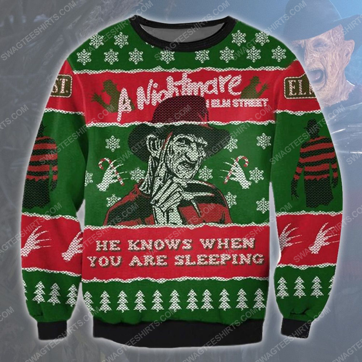 A nightmare on elm street he know when you are sleeping ugly christmas sweater - Copy (3)