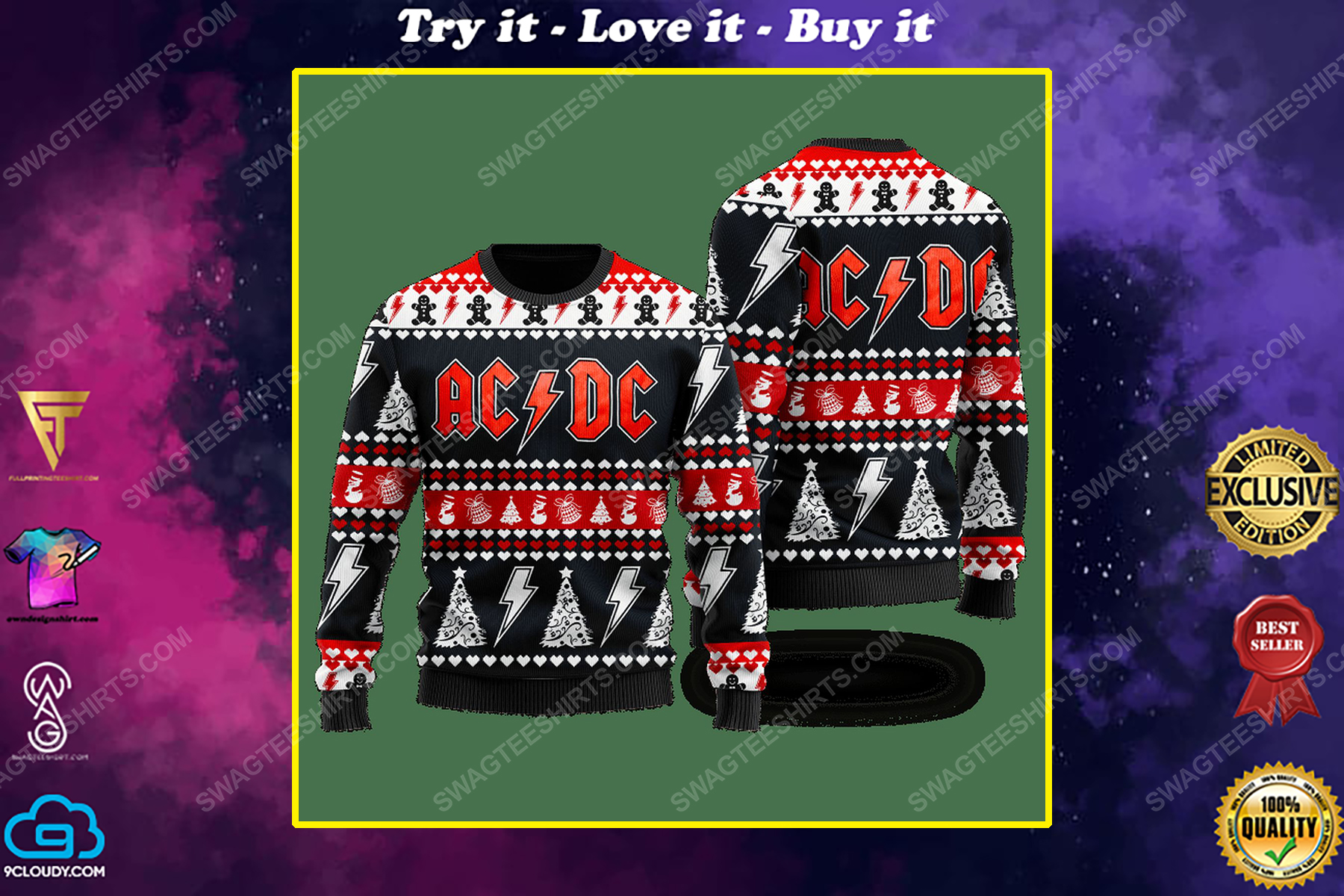 AC DC rock band ugly christmas sweater 1