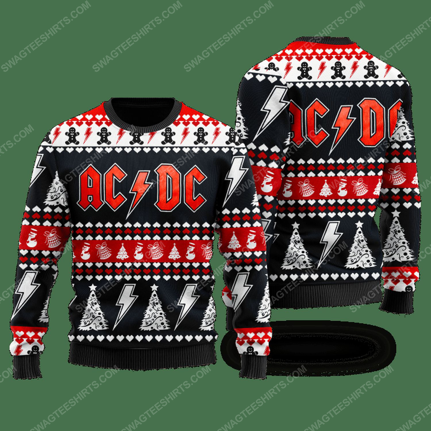 AC DC rock band ugly christmas sweater - Copy